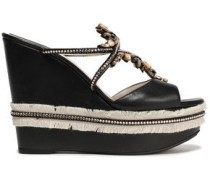 Embellished Leather Wedge Mules Black