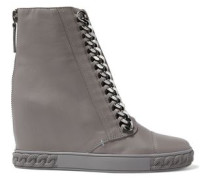 Embellished Leather High-top Wedge Sneakers Gray
