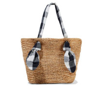 Hazel Gingham Canvas-trimmed Woven Raffia Tote Tan Size --