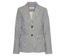 Striped Cotton-blend Twill Blazer White Size 0