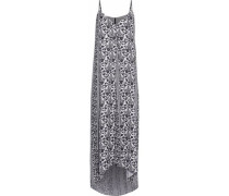 Asymmetric printed crepe de chine maxi dress