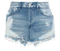 W2 Mason Bleached Distressed Denim Shorts Mid Denim  5