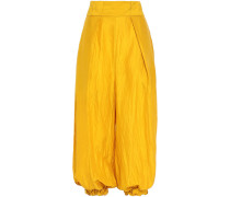 Woman Crinkled Silk -twill Wide-leg Pants Marigold