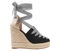 Woman Gingham-trimmed Canvas Wedge Espadrilles Black