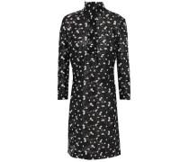 Woman Faux Leather-trimmed Metallic Guipure Lace Dress Black
