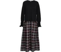 Ellan Cotton-jersey And Jacquard Midi Dress Black