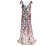 Embellished Tulle Gown Multicolor Size 16