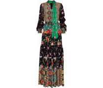 Clementine Chiffon-paneled Printed Silk Maxi Dress Multicolor Size 0