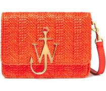 Logo-appliquéd Leather And Faux Raffia Shoulder Bag Orange Size --