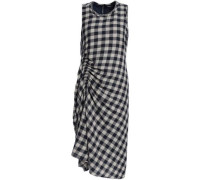 Ruched gingham wool and linen-blend jacquard midi dress