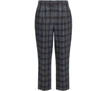 Sequin-embellished Checked Linen Tapered Pants Indigo