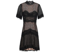 Scalloped Corded Lace Mini Dress Black