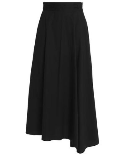 Fluted stretch-cotton poplin midi skirt