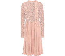 Pleated Corded Lace And Silk-crepe Dress Blush