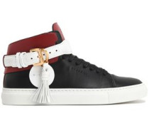 Tasseled color-block leather high-top sneakers