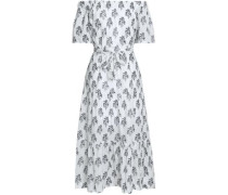Doris Off-the-shoulder Floral-print Cotton-voile Midi Dress Off-white