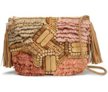 Tuk Embellished Leather, Cotton And Raffia Shoulder Bag Beige Size --