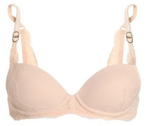 Lace and stretch-jersey underwired push-up bra