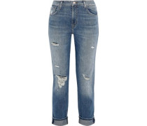 Woman Johnny Cropped Distressed High-rise Straight-leg Jeans Mid Denim