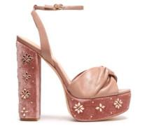 Knotted leather and embellished velvet platform sandals