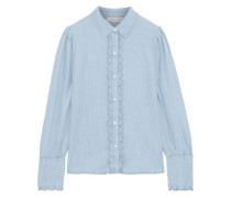 Scalloped Tencel-chambray Shirt Sky Blue
