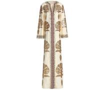 Leather-appliquéd embellished linen maxi dress