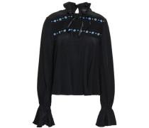 Embellished Silk Crepe De Chine Blouse Black Size 12