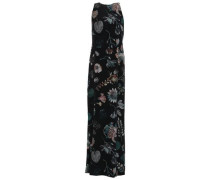Cutout Embellished Printed Silk Crepe De Chine Maxi Dress Black