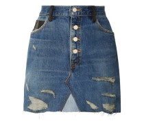 Distressed Denim And Leather Mini Skirt Blue