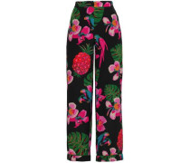 Printed Silk Crepe De Chine Wide-leg Pants Black