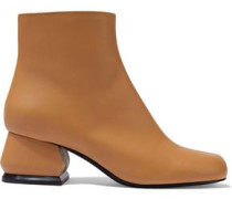 Woman Leather Ankle Boots Camel
