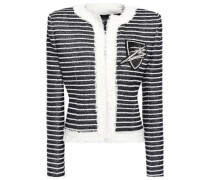 Woman Embellished Striped Woven Jacket Black