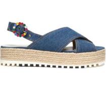 Denim platform espadrille sandals