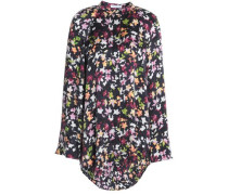 Printed washed-silk mini shirt dress
