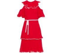 Cold-shoulder ruffled chiffon dress
