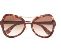 Square-frame Acetate Gold-tone Sunglasses Brown Size --