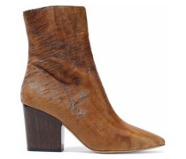 Sliced leather ankle boots