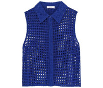Cropped Broderie Anglaise Cotton-blend Shirt Cobalt Blue