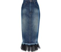 Pleated Tulle-trimmed Denim Midi Pencil Skirt Mid Denim