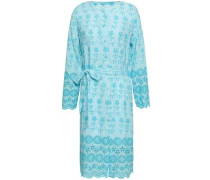 Cecilia Belted Broderie Anglaise Voile Dress Turquoise
