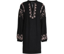 Embroidered Cotton Mini Dress Black