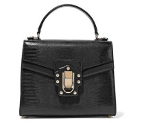 Lucia Lizard-effect Leather Tote Black Size --
