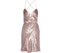 Open-back Devoré-velvet Mini Wrap Dress Rose Gold