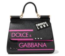 Sicily Appliquéd Printed Textured-leather Shoulder Bag Black Size --