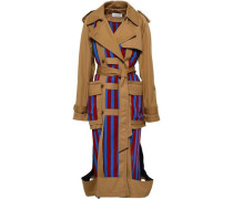 Cutout Paneled Twill Trench Coat Brown