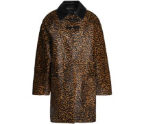 Patent leather-trimmed leopard-print calf hair coat