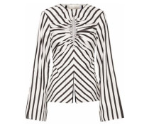 Musette cutout gathered striped cotton top