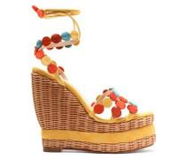 Suede-trimmed wicker wedge sandals