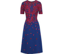 Floral-print Neoprene Dress Cobalt Blue Size 12