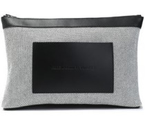 Leather-paneled canvas cosmetic case